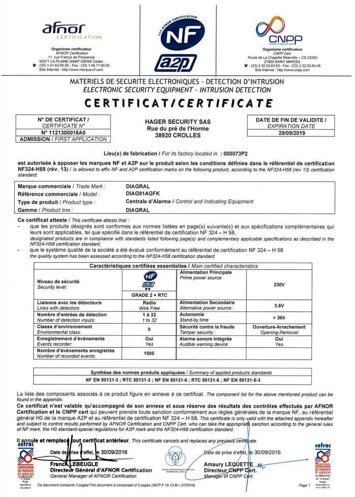 certificats nfa2p centrale sirene vocale supervisee. Black Bedroom Furniture Sets. Home Design Ideas